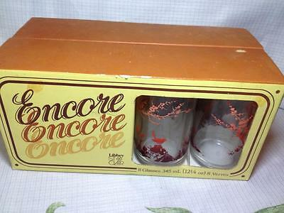 Libbey St Clair  Design Encore new old stock retro lemonade glasses made