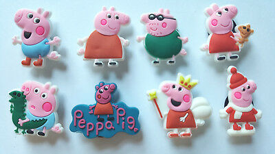 New Set of 8 Peppa Pig Character Shoe Charms FREE S&H + GIFTS USA Seller