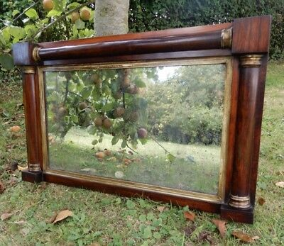 Antique Mirror ,19th Century Rosewood/gilt Regency Overmantle with columns