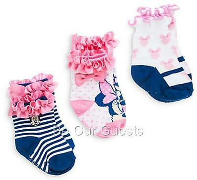 Disney Store Baby Minnie Mouse Sock Set of 3 New Size 6 - 12 Months