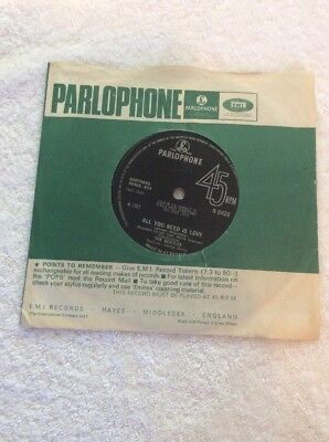 "The Beatles - All You Need Is Love 7"" Single"