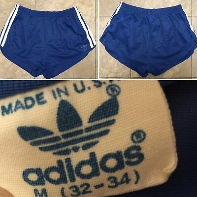 Vintage Adidas blue w/white Running Shorts Short Shorts Made In USA M 32-34 70s