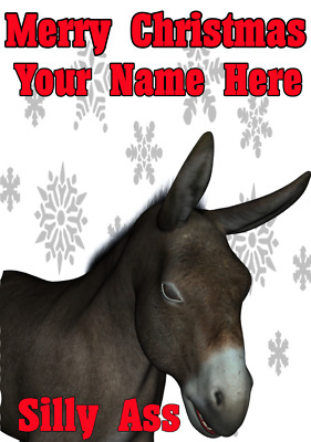 Donkey Silly Ass ptcc58 Xmas Christmas card A5 Personalised Greeting Cards