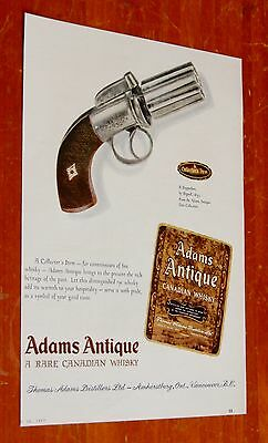 1830 Ringall Pepperbox Gun For 1957 Adams Antique Canadian Whisky Ad - Vintage