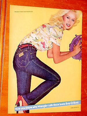 Sexy Blonde Girl For Wrangler Jeans Eye Catching Ad - Vintage Clothing Retro 80S