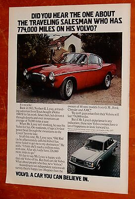 1978 Volvo Ad With Record Breaking 1965 1800S With Now Highest Mileage Vintage