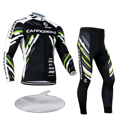 Men's Long Sleeve Bike Cycling Jersey Pants Set Bicycle Clothing Fleece Thermal