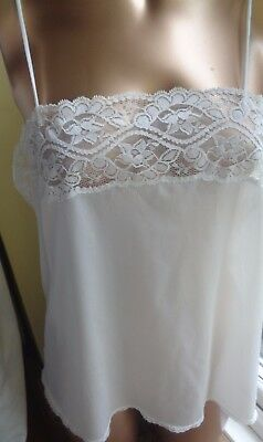 "Lovely Camisole Top  Cream 100% Polyamide Soft Shiny Lace Trim 38"" Bust J29"