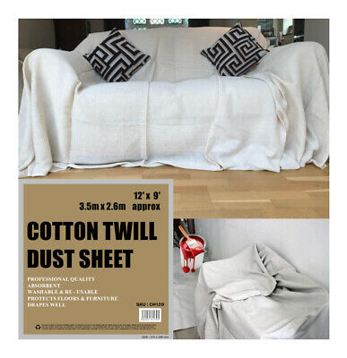 3 X Heavy Duty 9Ft X 12Ft Cotton Twill Professional Decorating Large Dust Sheets