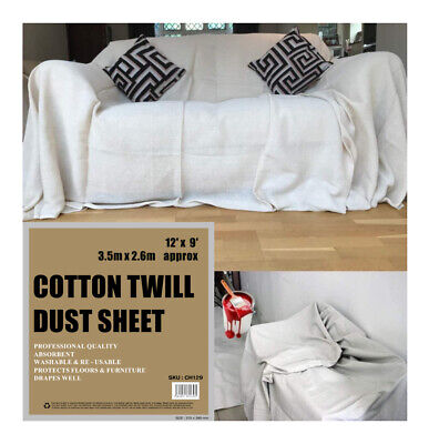 Three PROFESSIONAL QUALITY 100% COTTON TWILL HEAVY DUTY DUST SHEETS DECORATING