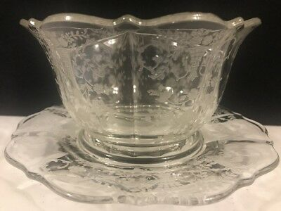 cambridge glass portia divided two part mayonnaise bowl with under plate - Cambridge Glass