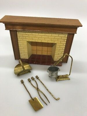 Antique Strombecker Fireplace Dollhouse Furniture Wood w/ Accessories
