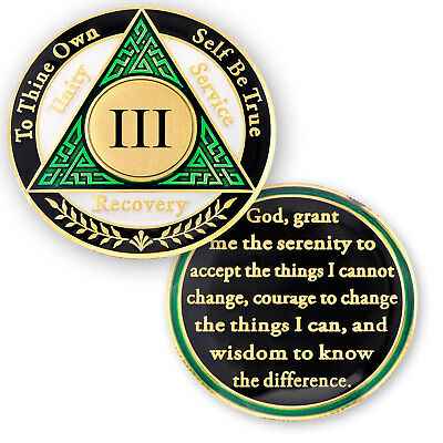 AA coin 3 year, Green White Black, anniversary recovery alcoholics anonymous