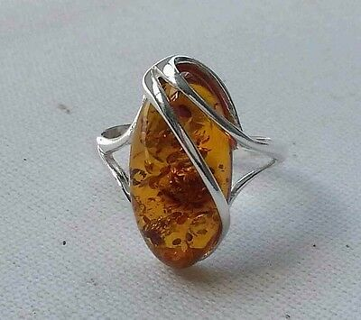 Ring 925 Sterling Silver & 20*10 mm Genuine Cognac Baltic Amber Adjustable