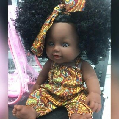 Cute Afro Black 12 inch Doll with Afro Hair with Pink Backpack