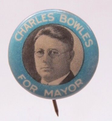 unusual 1930 CHARLES BOWLES FOR MAYOR Detroit Michigan pinback button VERY Small