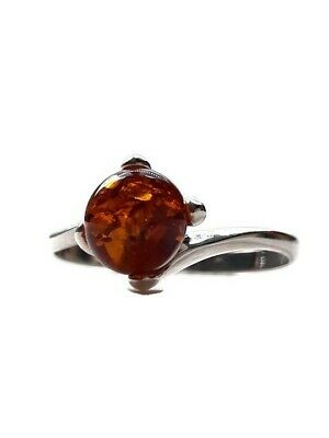 Ring 925 Sterling Silver & Genuine Cognac Baltic Amber