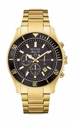 Bulova Marine Star Men's 98B250 Quartz Chronograph Black Dial Gold Tone Watch