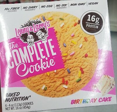New Sealed Lenny & Larry's The Complete Birthday Cake 16 Oz Baked Nutrition