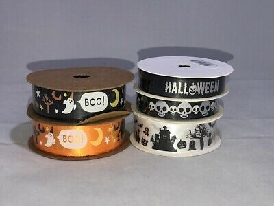 2 or 20 metres 25mm Halloween Sheer Organza Ribbon Ghost Pumpkin Roll Craft UK