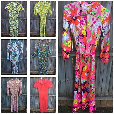 CHOICE Retro 70's Psychedelic Jumpsuit Size Small Petite Flower Power W Belt