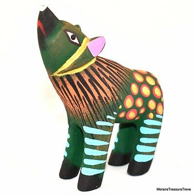 "Oaxacan Copal Wood Carving Painted Folk Art Green Howling Wolf 3.25"" Figurine"