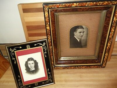 Pair of Antique Picture Frames with pictures - Large wood with recessed photo