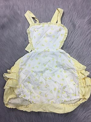 Vintage Toddler Girls Yellow White Abc Ruffle Sunsuit Romper 50s