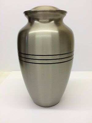 Silver grey funeral cremation urn human ashes three black bands Urne funéraire