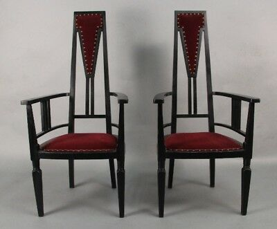 European Antique Pair Of Turn Of the Century Secessionist Chairs c 1910 (10673)