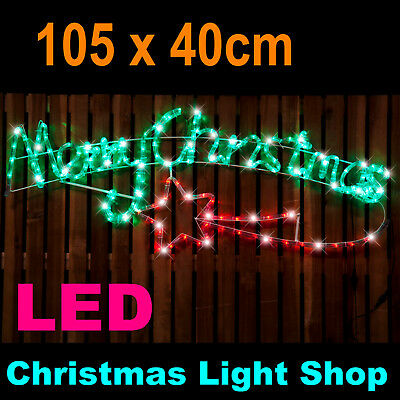 MERRY CHRISTMAS LED RopeLight Red Green Sign 105cm Outdoor Flashing Rope Lights