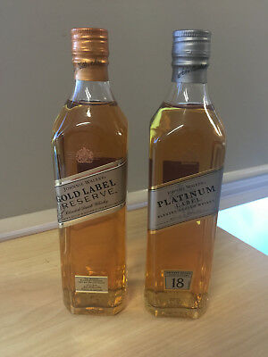 Johnnie Walker x2 Bottles of Platinum & Gold Label of (200ml) Each