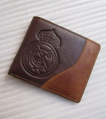 Real Madrid soccer fans 100% genuine leather wallet ID Card Holder bifold Purse