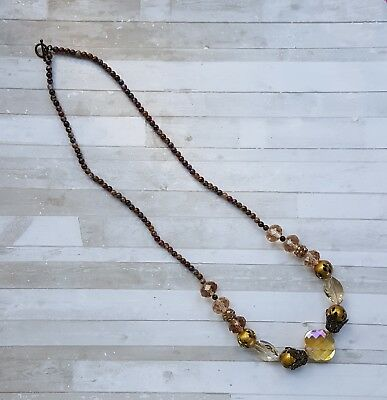 "Handmade Antique Looking Brass and Brown Crystal Beaded Necklace - 26"" in length"