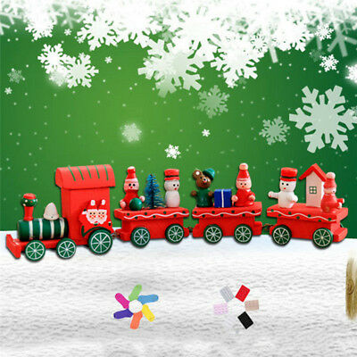 4 Carriage Christmas Kid Cartoon Wooden Train Toy Xmas Desktop Decoration Craft