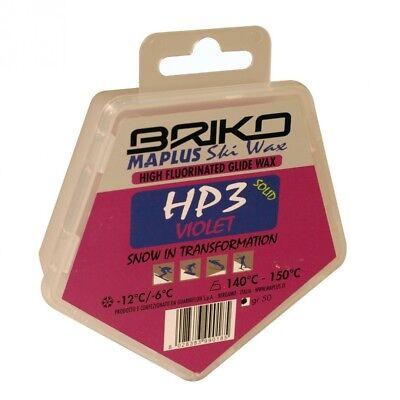 Briko-Maplus HP3 Violet High Fluorinated Ski and Snowboard Solid Wax (50
