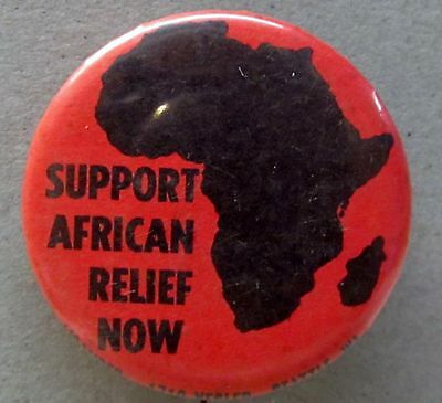 vintage SUPPORT AFRICAN RELIEF NOW Seattle Washington pinback button