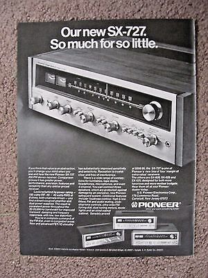 1973 Pioneer Stereo Sx-727 Full Page Ad Free Shipping