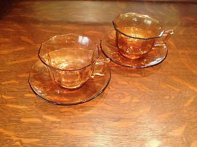 Cambridge glass Amber teacups and saucers