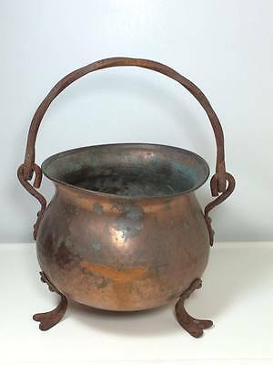 Antique Hand Hammered arts and crafts era copper cauldron made in Germany