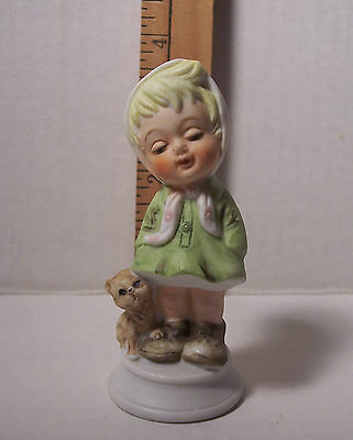 Vintage Napcoware Girl With Kitty Figurine    C- 8546   Retired