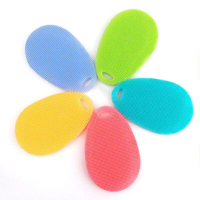 New Silicone Sponge Scrubber Kitchen Tool Fruit Dish Washing Household Cleaning