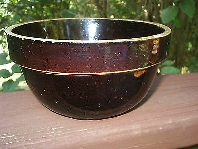 "Vintage New Cream Dream Whip Brown Bowl Crock Stoneware Mixing 6 3/4 x 3 3/4"" T"