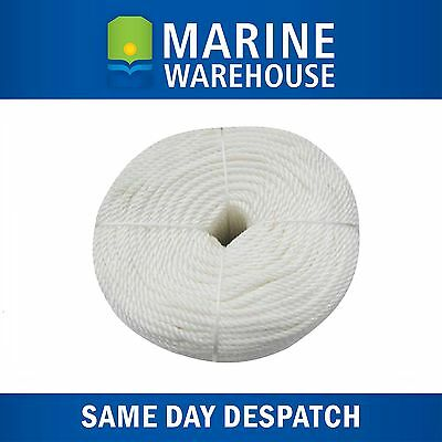 8mm X 100M Nylon Rope - White 3 Strand - 830KG Breaking Strain 106334