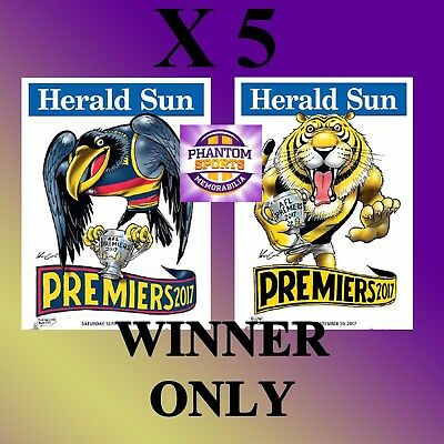5 X 2017 Adelaide Or Richmond Grand Final Premiers Premiership Weg Knight Poster