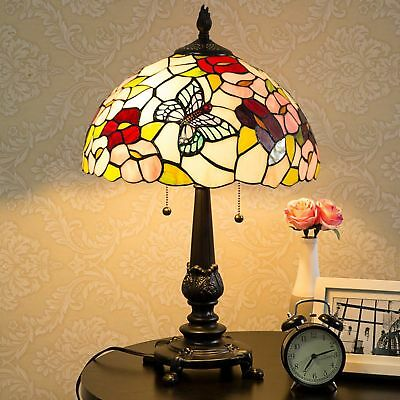 Tiffany-Style Butterfly Table Lamp Victorian Glass Stained Handcrafted Desk Lamp