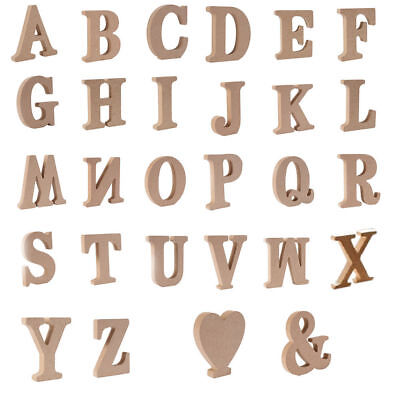 Wooden Craft Alphabet Letters & Heart Shape Laser Cut MDF Thick 1.5cm Home Decor