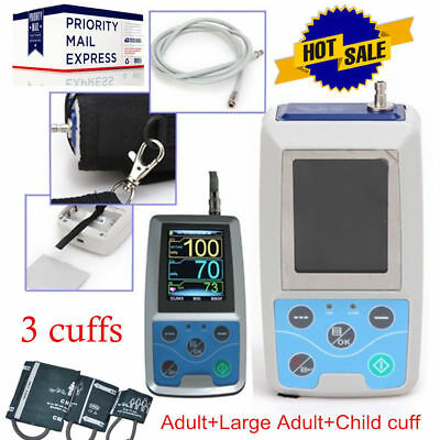 24H ABPM50 Ambulatory Blood Pressure Monitor 3 cuff+PC SW,Pulse Rate/NIBP Holter
