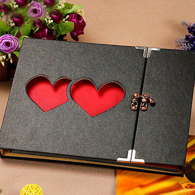 10 Inch Solid Cover Memory DIY Photo Album Book Holder Black and Heart 2 Heart#