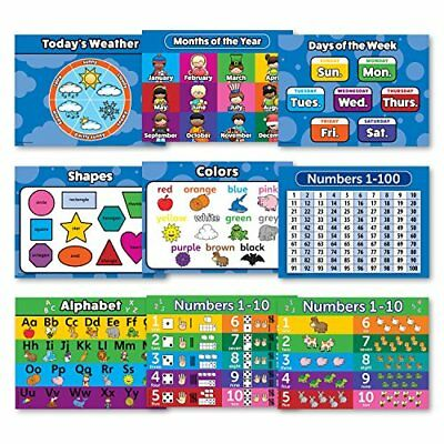 Toddler Learning LAMINATED Poster Kit - 9 Educational Wall Posters for...